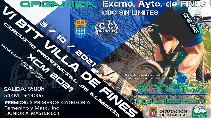 El próximo 3 de Octubre se celebra el Maratón de Fines puntuable para las XCM Series Almería 2021